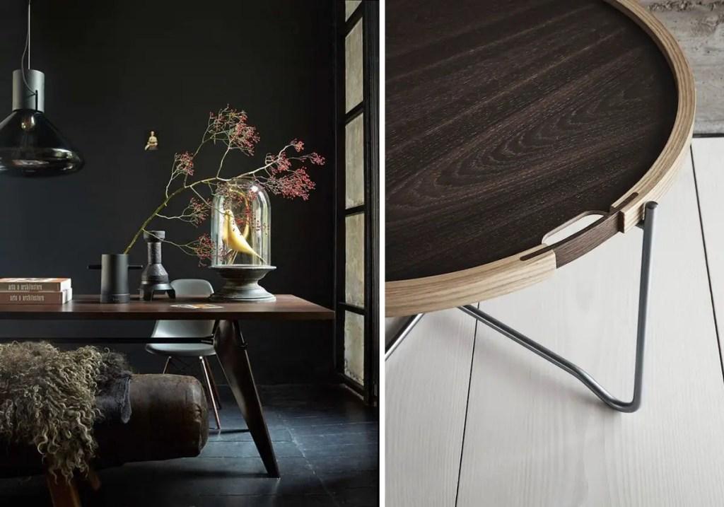 table à manger tendance en bois foncé