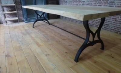 Table industrielle en chêne massif artisan