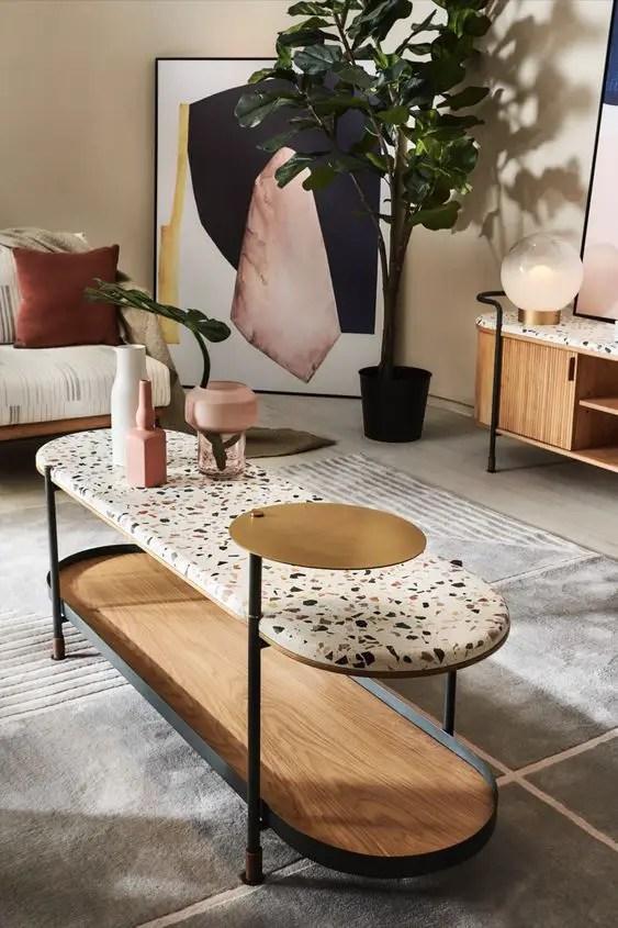 Table terrazzo dans un salon