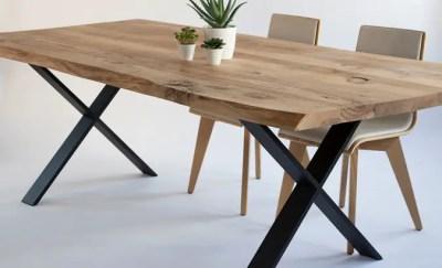 Table Live Edge en orme pieds X