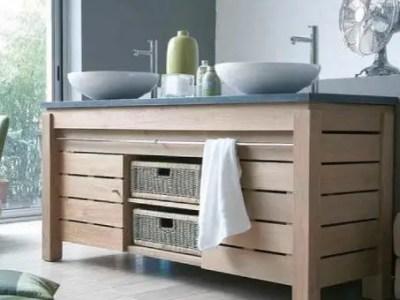 Plan de travail salle de bain avec 2 vasques et tiroir