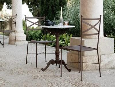 Table de bistrot en métal et marbre blanc