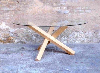 Table ronde scandinave en verre