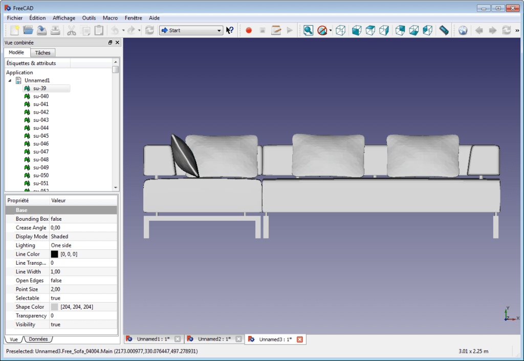 Capture d'écran du logiciel FreeCAD