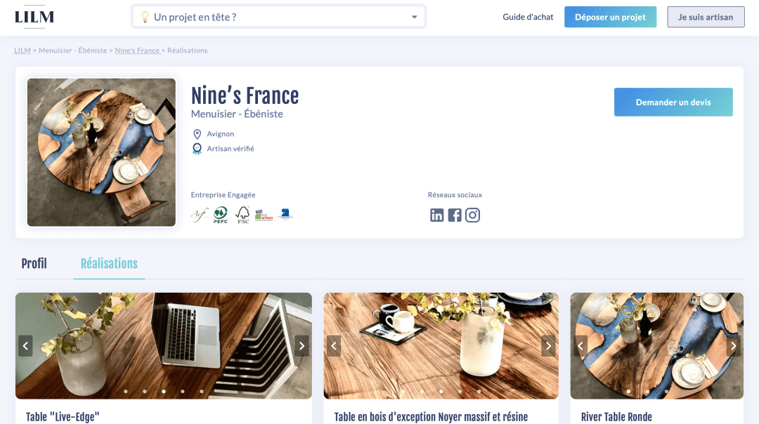 Profil atelier Nine's France