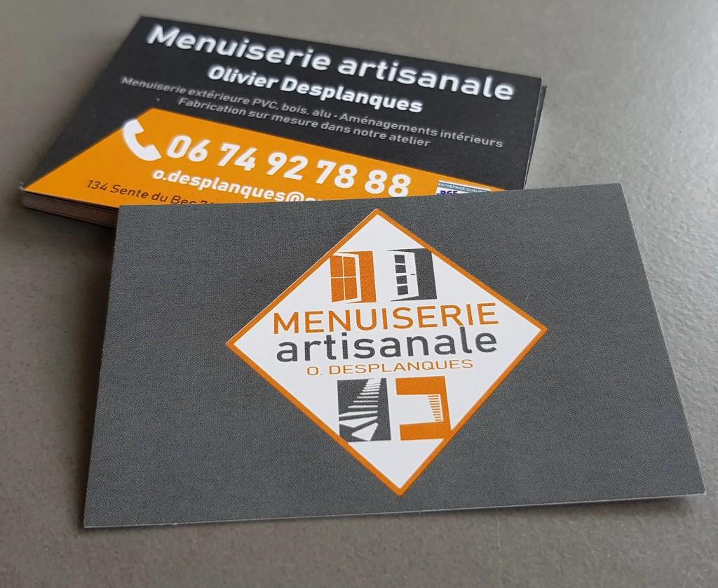 modèle de carte de visite professionnelle menuiserie artisanale