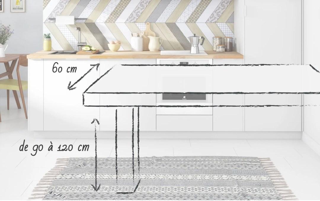 schéma d'un comptoir de bar avec les cotes à adopter