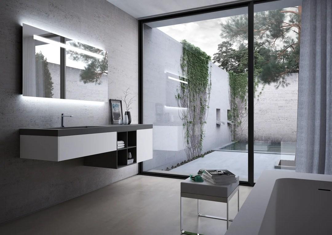 Salle de bain dans les tons clairs avec revêtement en FENIX NTM