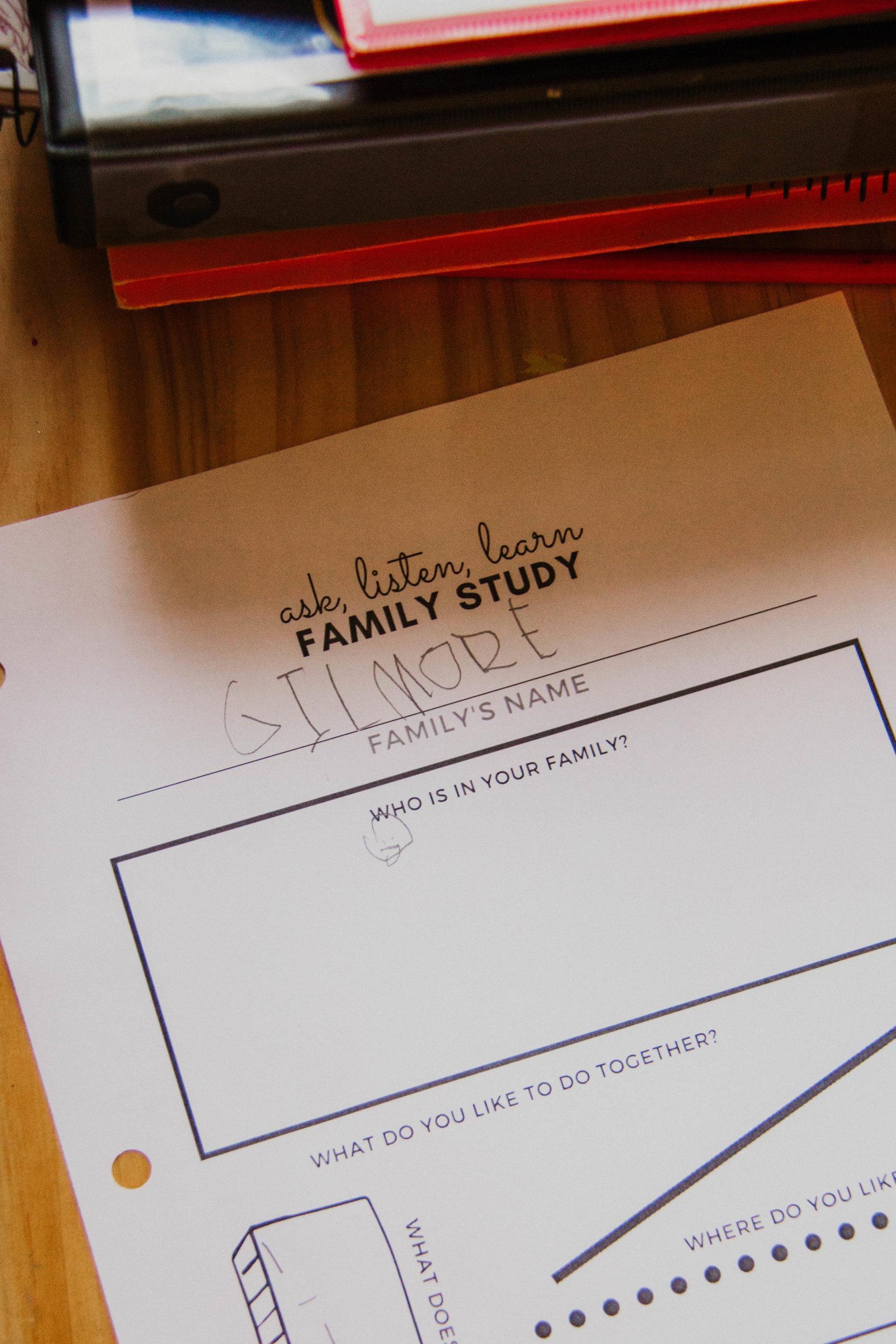 Family Study Worksheet