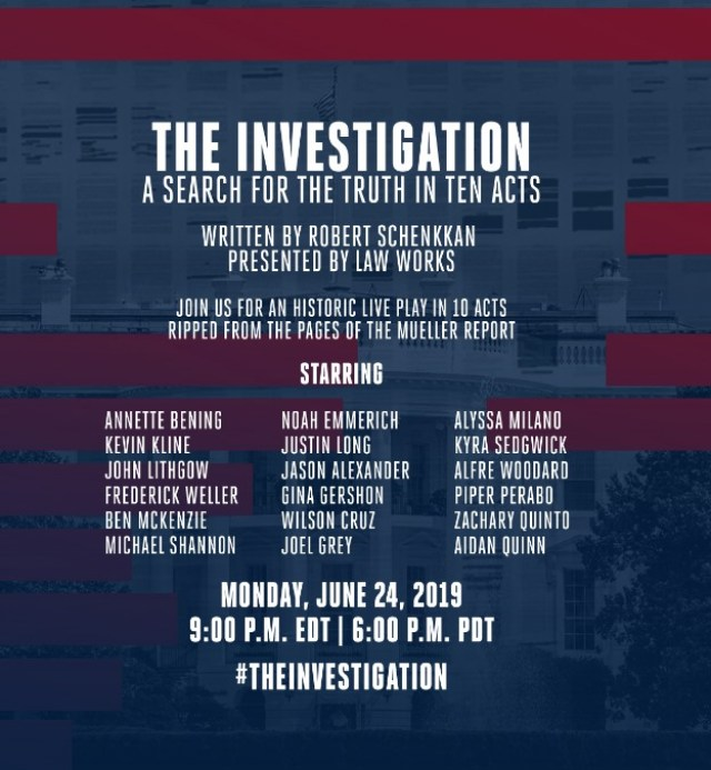 """The Investigation: A Search for the Truth in Ten Acts"" a one-night-only theatrical event  starring John Lithgow, Aisan Quinn, Gina Gershon, Annette Bening, Alyssa Milano and more produced by heirs to the Disney entertainment dynasty."