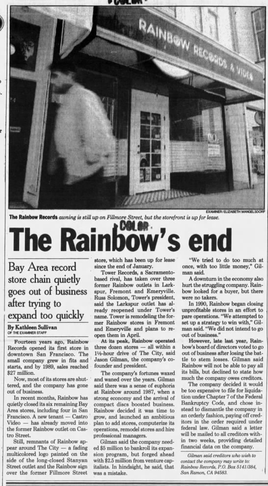 Rainbow Records closes in 1992