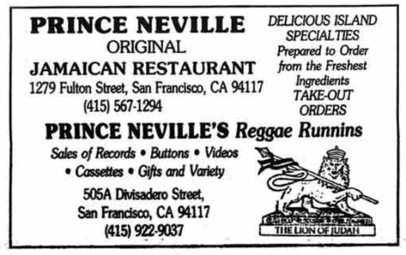 Ad for Prince Neville's businesses on Divisidero