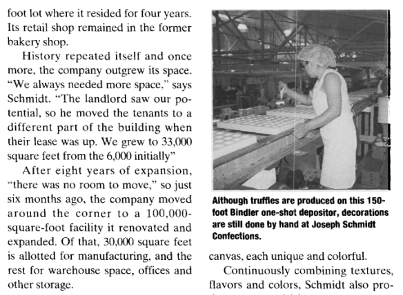 Joseph Schmidt profiled in a candy industry magazine in 1998