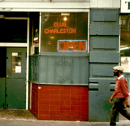 Club Charleston on 6th Street from photo used on Spike's bar crawl published by Manic D Press and reposted at Found SF