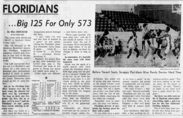 Tampa Bay Times newspaper story about an October 1971 Floridians  game in St. Pete that was ill attended