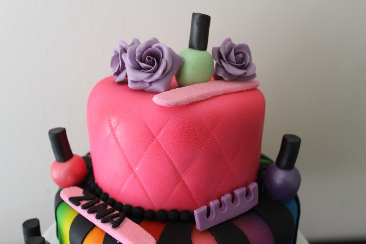 top tier of manicure cake