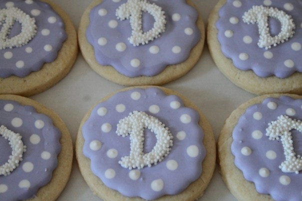 purple monogram cookies
