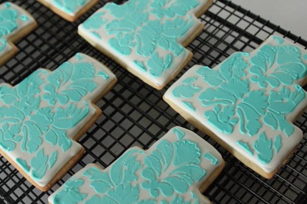 Tiffany Blue Stencil Cookies