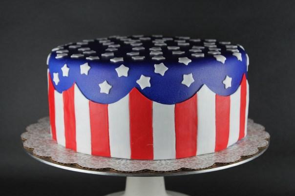 American Flag Fondant Cake