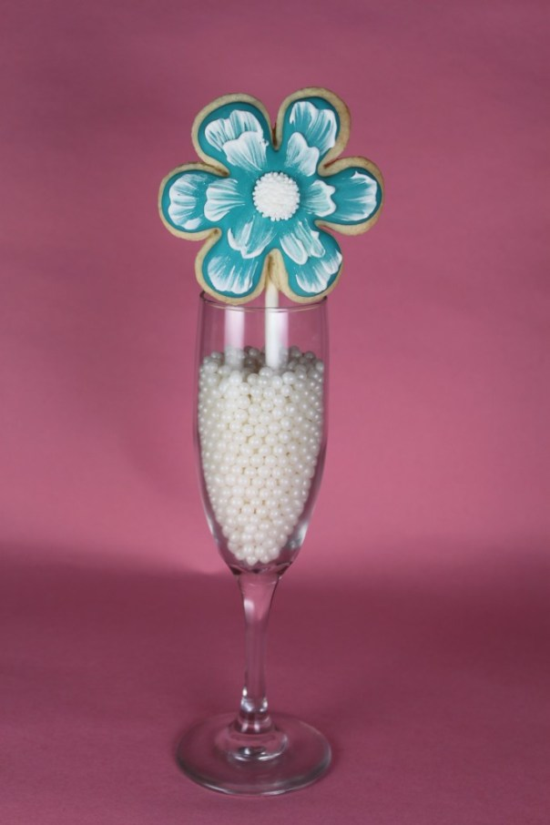 Blue Brush Embroidered Cookie Pop
