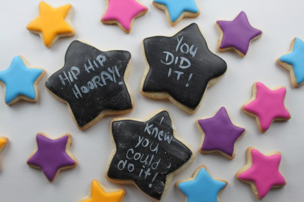 Chalkboard Star Graduation Cookies