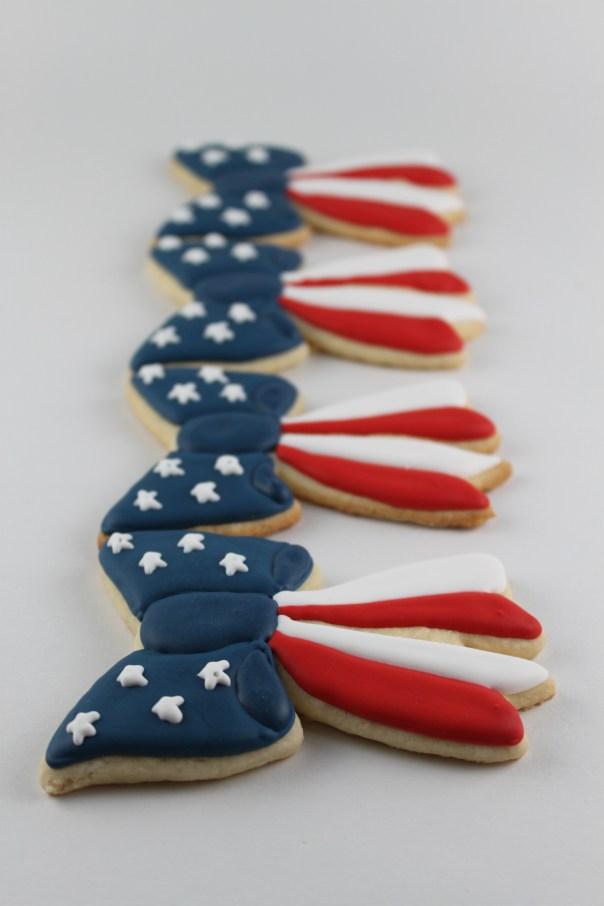 American Flag Bow Sugar Cookies
