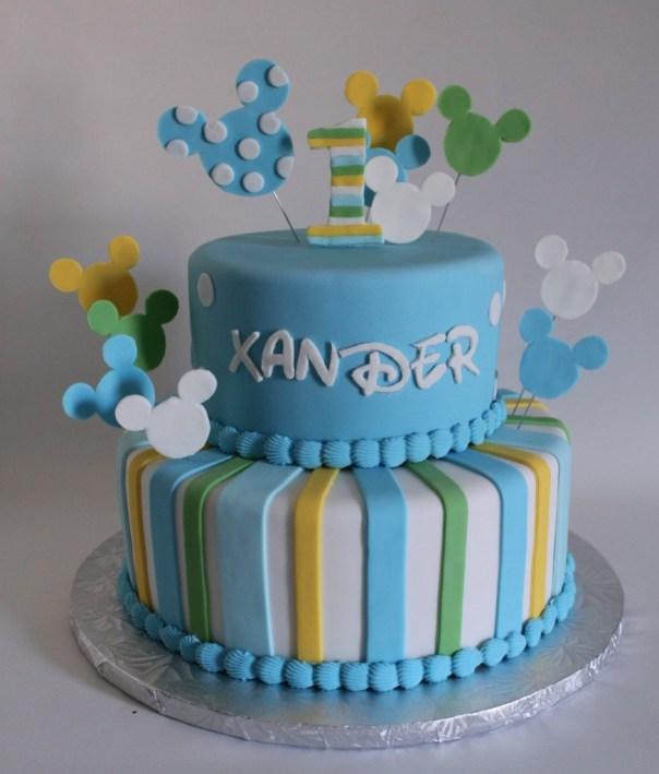 Baby Mickey First Birthday Cake