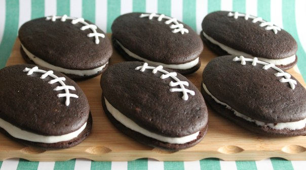 Football Whoopie Pies with Marshmallow Filling
