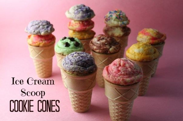 Ice Cream Scoop Cookies on Cones