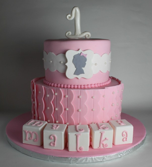 Silhouette First Birthday Cake