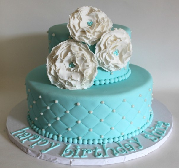 Teal Diamond Beach Wedding Cakes