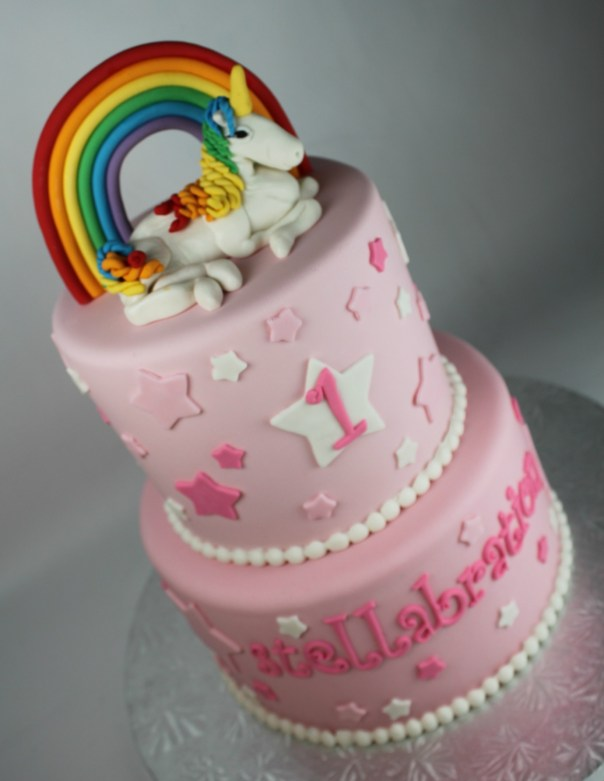 Rainbow Unicorn Stars Birthday Cake