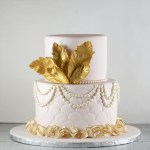 Pink and Gold Feather Cake Lil Miss Cakes