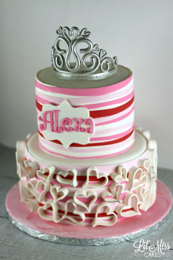 Ribbon Stripes and Hearts Cake | Lil Miss Cakes
