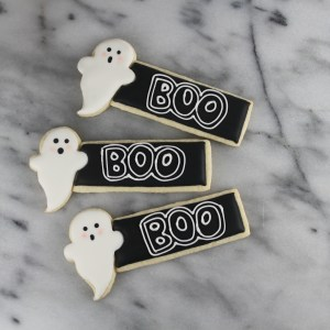 Ghost Place Card Cookie   Lil MIss Cakes