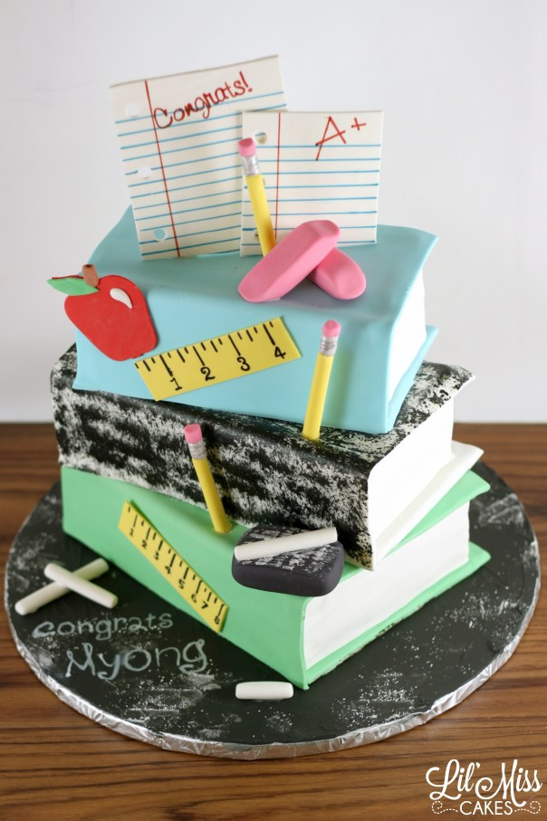 Stack of School Books Cake  Lil Miss Cakes