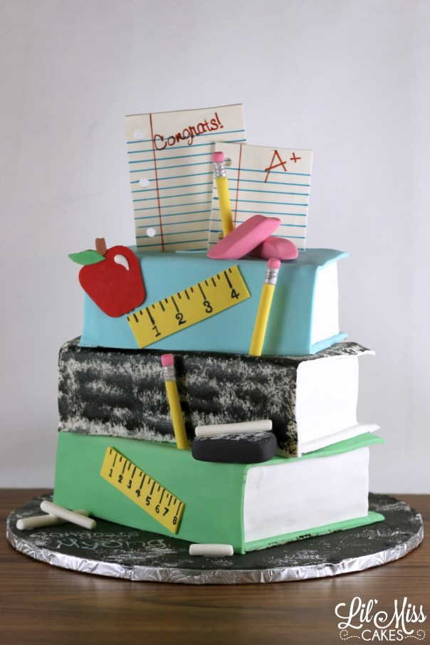 Teachers Book Stack Cake   Lil Miss Cakes