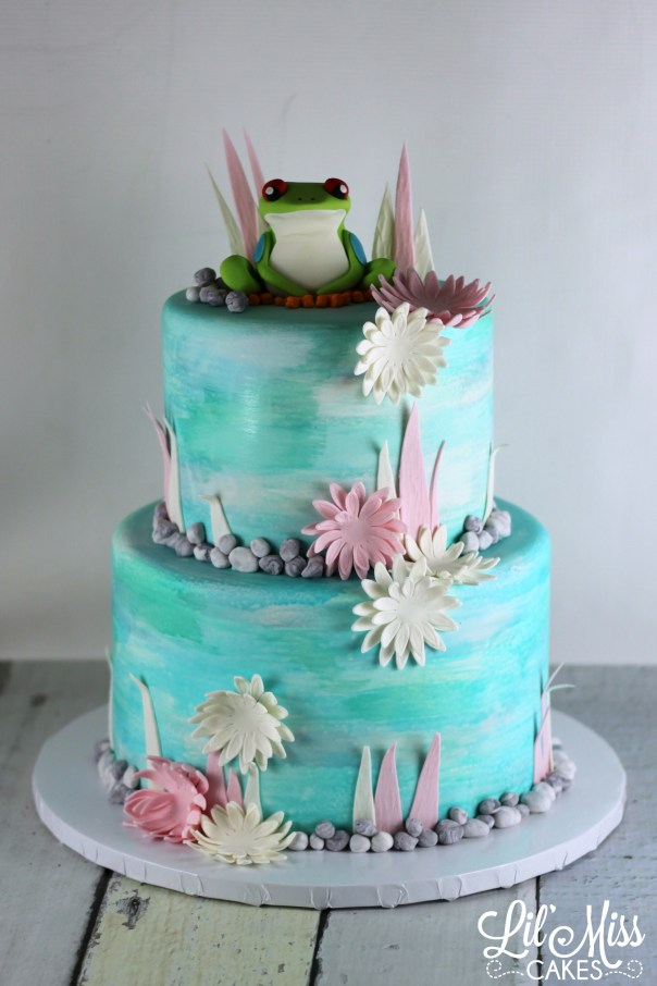 Watercolor Frog Cake   Lil Miss Cakes