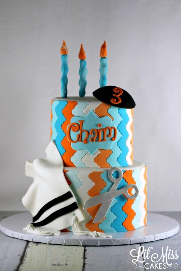 Modern Upsherin Cake   Lil Miss Cakes