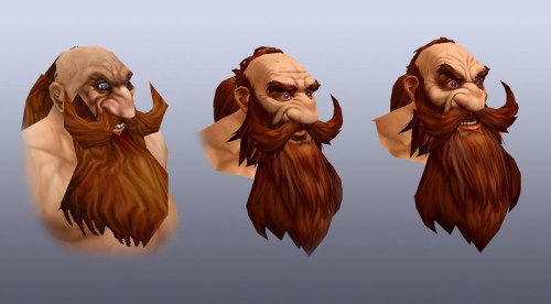 The original Dwarf model (left) has his teeth painted directly on his upper lip to give him a snarl. With the new models, which have fully modeled and textured teeth, a simple paint job just isn't an option—it would look terrible. In the middle, you can see what that same sneer looks like right now in the beta test; on the right is what you'll see in an upcoming beta build.
