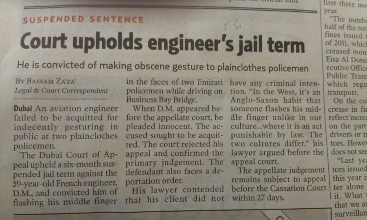 Jailed for flashing middle finger