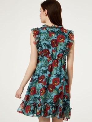 robe-courte-fronces-fleurs-liujo