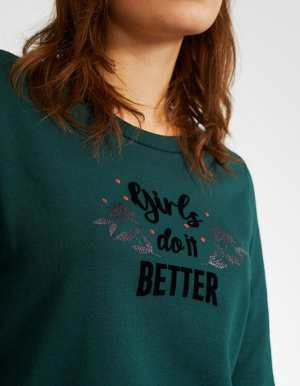IKKS-SWEAT VERT PINEGREEN GIRLS DO IT BETTER I_CODE-QR15004-58_2