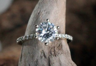 Classic 6 prong engagement ring with pave diamonds