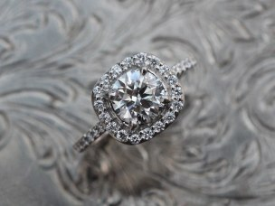 Custom Cushion Cut Halo Diamond Eternity Band Engagement Ring by Liloveve Jewelry