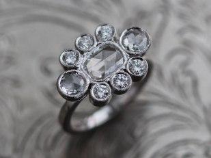 Liloveve Custom Rose Cut Diamond Cluster Platinum Engagement Ring