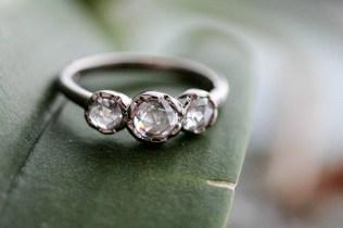 Rose cut diamond and palladium white gold band