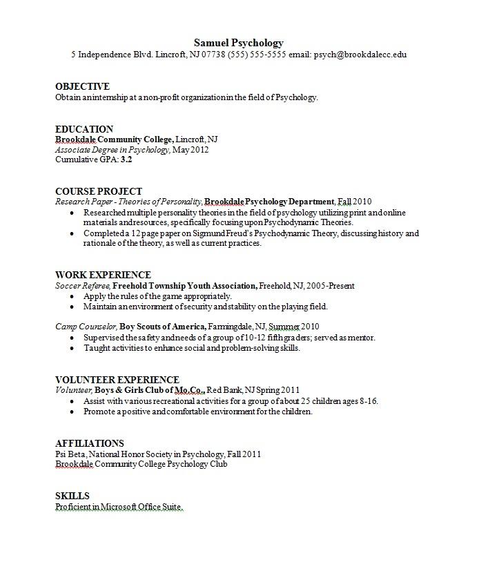Psychology Resume Templates