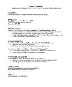 Psychology Major Resume Sample Career Connoisseur