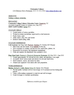 Culinary Major Resume Sample Career Connoisseur